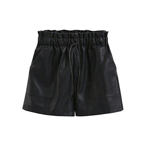 pelle Mini Moda Elastico Vita Pantaloncini Oudan Nero forti Pantaloni taglie Donna in p8RIq