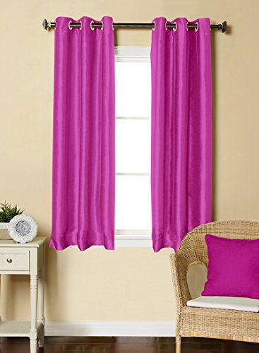 LUSHOMES Pink Dupion Silk Curtain with 6 Plastic Eyelets (Pack of 2 pcs) for Windows