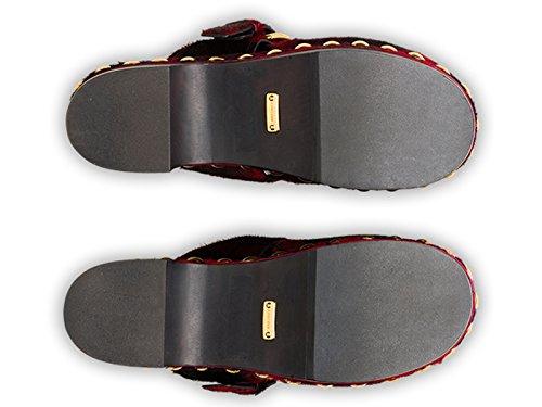 Mulas de coche calzado femenino en cuero de potro rojo - Número de modelo: KDZ31L 3A19 F0041 Rojo