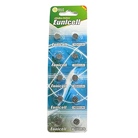 - 41slN5FSWQL - 10 Eunicell AG3 / LR41 / 192 / 392 Button Cell Battery Long Shelf Life 0% Mercury (Expire Date Marked)