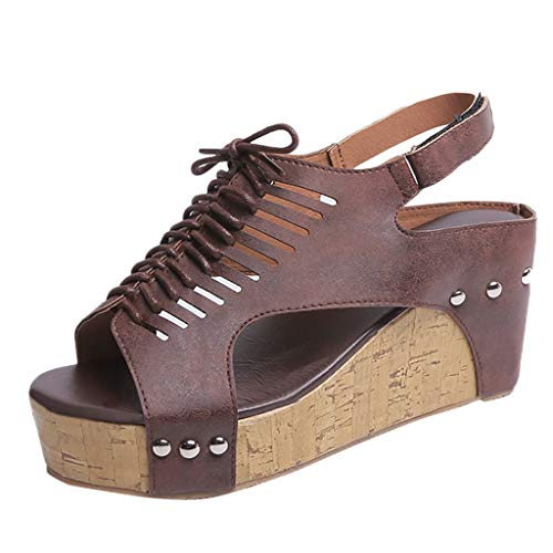 MmNote Women Shoes, Women's Gladiator Strappy Cut Out Open Toe Platform - Comfortable High Heel Wedge Sandals Shoes Brown ()