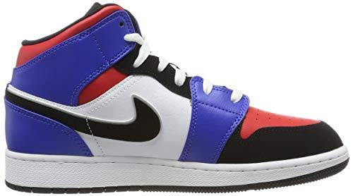 Nike Boy's Air Jordan 1 Mid (GS) Shoe White/Black-Hyper Royal/University Red, Size 3.5 M US Big Kid by Nike (Image #6)