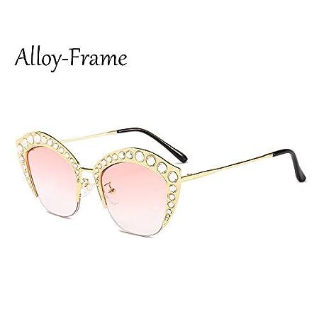 TL-Sunglasses Occhio di gatto Occhiali da sole donne Strass mezza trama Sexy Occhiali da sole Ladies sfumature G161,C13 Telaio in lega