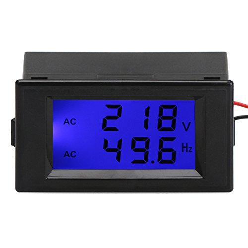 Digital AC Voltage Frequency Meter, DROK Digital Voltmeter Panel AC 80-300V 110v 220v Frequency Counter 45.0Hz-65.0Hz LCD Display Voltage Frequency 2-in-1 Monitor Tester Gauge with Two Wires