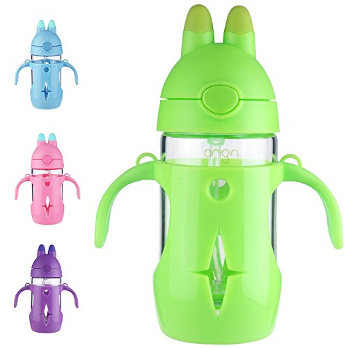 Origin Best Kids BPA-Free Glass Water Bottle for Boys, Girls, and Toddler | Leak-Proof Flip Cap Lid | Protective Plastic Bunny Rabbit Sippy Cup Body with Handles, Silicone Straw | 10 oz (Lime Green)]()