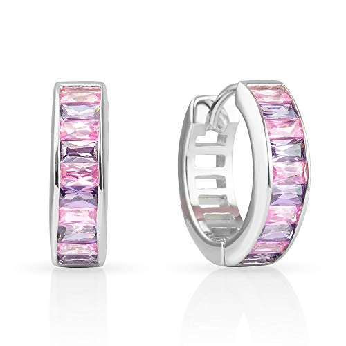 925 Sterling Silver Crystal Pink Purple Lavender Hoop Huggie Earrings
