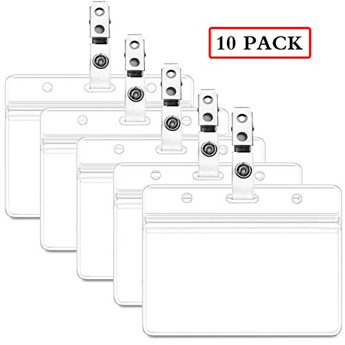Waterproof Horizontal ID Badge Holder Horizontal Clear PVC Name Holder Tags with Badge Clip Straps (10 Pack, Horizontal) -