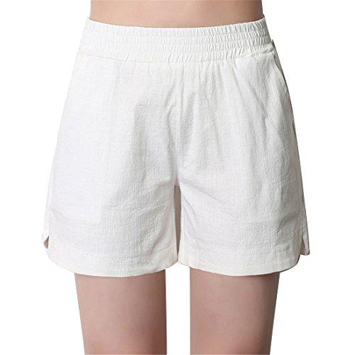 pantaloni Casual Cotone ginocchio corti Bianco da Luckywe fino donna sottile lino al confortevole dqtg0