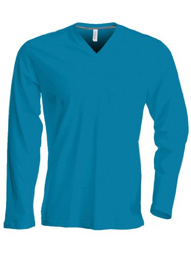 Kariban Herren Langarm T-Shirt mit V-Ausschnitt K358 Light Royal Blue M