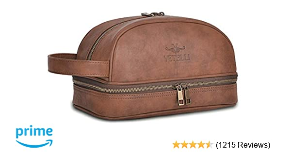 00943d31a5 Amazon.com  Vetelli Leather Toiletry Bag For Men (Dopp Kit) with free Travel  Bottles. The perfect gift and travel accessory.  Clothing