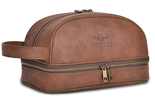 b458441dce Amazon.com  Vetelli Leather Toiletry Bag For Men (Dopp Kit) with free Travel  Bottles. The perfect gift and travel accessory.  Clothing