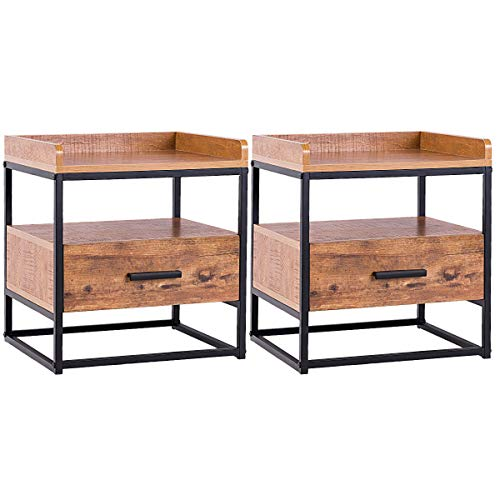 Giantex Side Table Two Tiers End Table W/Drawer Handle Solid Steel Metal  Pipe Frame for Living Room Bedroom Sofa Storage Nightstand (2 End Table)