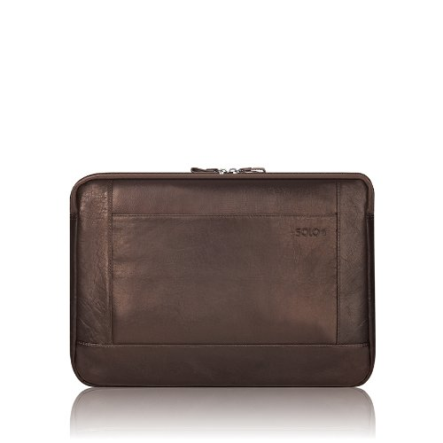 Solo 16 Inch Leather Laptop Sleeve, Espresso