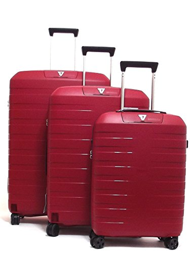 Roncato set tre trolley viaggio, Box 5510-0109 trolley cabina+trolley medio+trolley grande rigidi in polipropilene, colore rosso