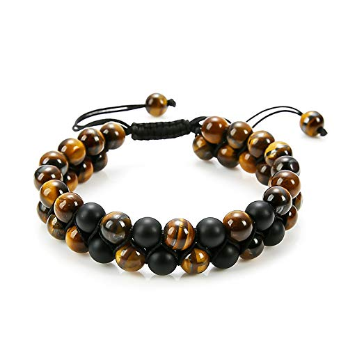 (Reizteko Tiger Eye Stone Bracelet Men Women - Natural Energy Stone Essential Oil Lava Rock Black Onyx Tiger Eye Beads Bracelet Adjustable Couples (Tiger Eye # 2))