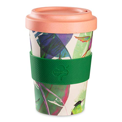 Be-Puro Bamboo Fibre Travelling Coffee Cup Eco Friendly Reusable long lasting Dishwasher safe Screw on lid Silicone Grip Travel Coffee Mug for Tea, Coffee, Hot beverages 18oz 550ml Hummingbird