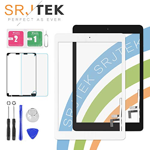 SRJTEK Screen Replacement for iPad 5 air 1st Gen A1474 A1475 A1476 Screen Replacement Touch Digitizer Glass Sensor Assembly - Home Button Camera Holder Pre Installed Adhesive Stickers Black