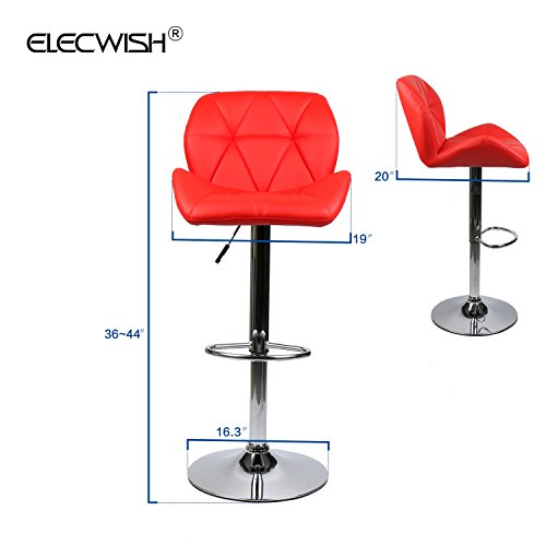 Elecwish Bar Stools Set of 2 White PU Leather Seat with Chrome Base Swivel Dining Chair Barstools (Red 2pcs) by Elecwish (Image #2)