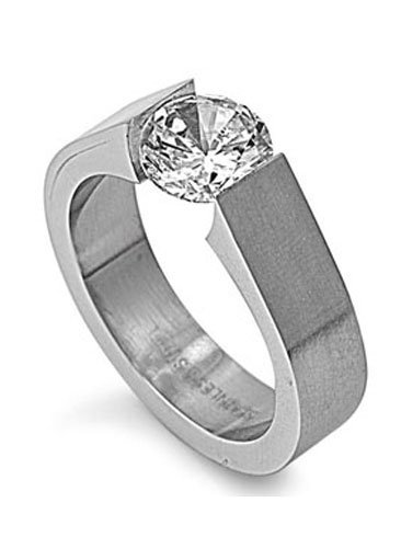 Stainless Steel Solitaire Simulated Diamond On Tension Setting Ring, With Face Height of 7mm - Crazy2Shop