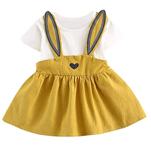 - Toddler Baby Girls Summer Casual Cute Rabbit Ear Printing Sling Heart Splice Easter Dress (Yellow, 12-18M)