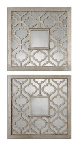 Uttermost Sorbolo Squares Decorative Mirror Set/2 with Antiqued Silver Leaf With Black - Silver Antiqued Leaf