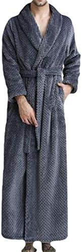 メンズローブ 快適な長さ暖かいナイトドレススパソフトロングスリーブラペルスリープウェアローブ