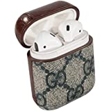 fb52424ee5b AirPods PU Leather Designer Case, Protective Shockproof Case Cover with  Carabiner Keychain Compatible with Apple