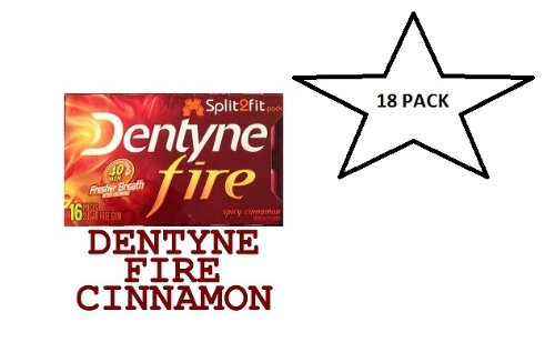 - Dentyne Fire Spicy Cinnamon Artificially Flavored Sugar Free Chewing GUM Split 2 FIT Pack 40 MIN Fresher Breath After Chewing - 18 Packs of 16 Pieces Packages (288 Sticks Total)