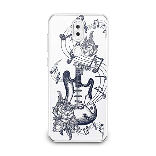 (Lex Altern TPU Case for Asus Zenfone Max Plus M1 M2 5z 5 4 Selfie Pro Clear Floral Guitar Art Pattern Amazing Black Cover Soft Silicone Special Dot Work Print)