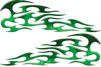Full Color Reflective Fire Green Tribal Motorcycle Gas Tank Flame Decals ()