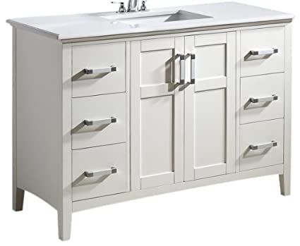 Simpli Home Winston 48u0026quot; Bath Vanity With Quartz Marble Top, White