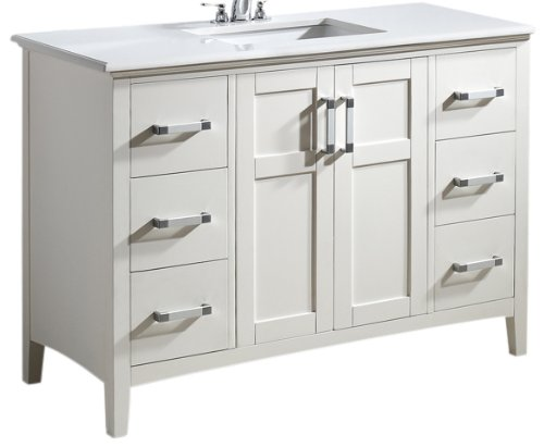 Simpli Home Winston 48' Bath Vanity with Quartz Marble Top, White