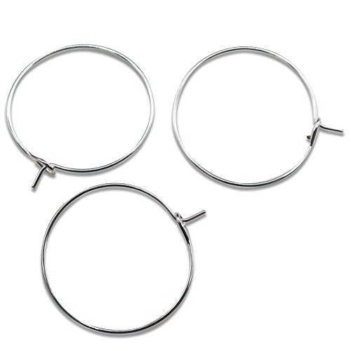 TOAOB 100 Pieces 25mm Glass Wine Charm Rings Bulk Earrings Hoops Silver Plated (25 Round Mm Hoop)
