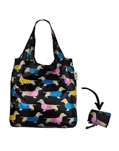 Re-Uz Lifestyle Shopper Foldable Reusable Shopping Grocery Bag - Sausage Dogs Summer Re-Uz London AMZ1501-SDSM