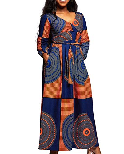 bc9e332b267 VERWIN African Print V Neck High Waist Color Block Evening Dress Wrap Maxi  Dress