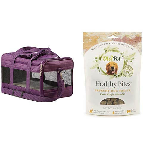Sherpa Travel Original Deluxe Airline Approved Pet Carrier, Medium, Plum and OlviPet Healthy Bites Crunchy Treats by Sherpa