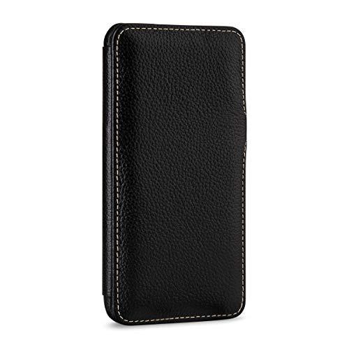 StilGut Apple iPhone Xs Max Case. Leather Book Type Flip Cover for iPhone Xs Max, Folio Case with Closure, Black