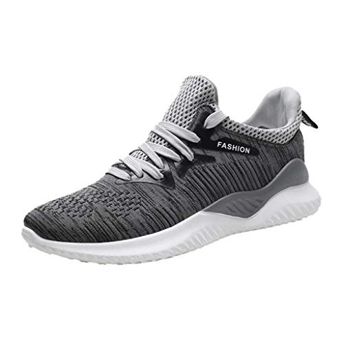 JUSTWIN Summer Men's Sports Shoes Mesh Woven Breathable Travel Hiking Running Sneakers Shoes Grey
