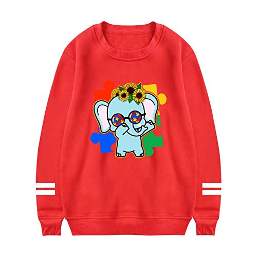NNaseg Womens Sweatshirt | Funny Elephant Dabbing Dance Color Puzzle Trend Element Printed Soft Cotton Long Sleeves t Shirt L Red ()