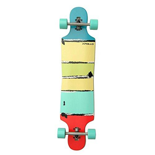 Apollo Longboard Maui DT Komplettboard, ABEC Kugellagern, Twin-Tip Drop-Through Freeride Skaten Cruiser Board