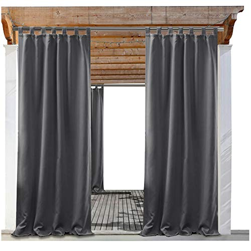 PONY DANCE Outdoor Curtain Gray - Blackout Drapes Tab Top Indoor Outdoor Use Fade Resistant Curtain for Patio Gazebo/Garden, 52'' W x 84'' L, Grey, 1 Panel by PONY DANCE
