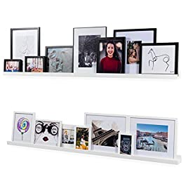 Wallniture Denver Modern Wall Mount Floating Shelves – Long Narrow Picture Ledge – 60 Inch White Set of 2 Mounting Hardware Included