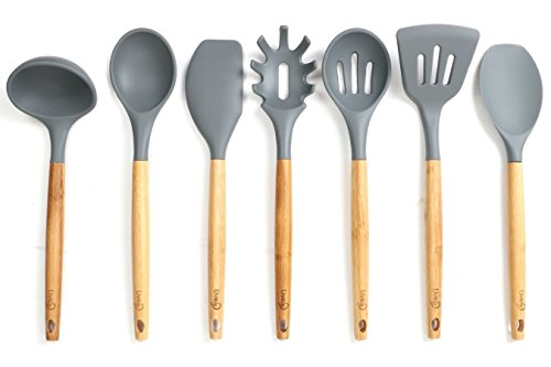 Lively Home Goods 7-Piece Premium Silicone Kitchen Cooking Utensils Set with Bamboo Handle for Nonstick Cookware, Grey
