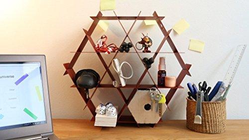 Hexagon Metal Desk Organizer Shelves, Home Office Decor, Blue Wall Shelf