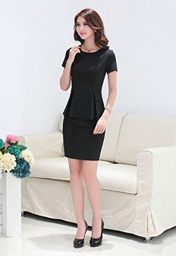 TLL Womens Elegant Dress Short-Sleeve Business Suit OLBlazer and Skirt Set (M, Black)