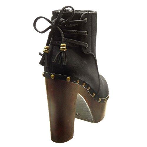 Angkorly - Chaussure Mode Bottine plateforme montante femme clouté pom-pom frange Talon haut bloc 12 CM - Noir