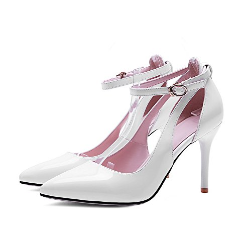 AllhqFashion Womens Spikes Stilettos Pull On Pointed Closed Toe Pumps Shoes with Hollow Out White QjPOIA