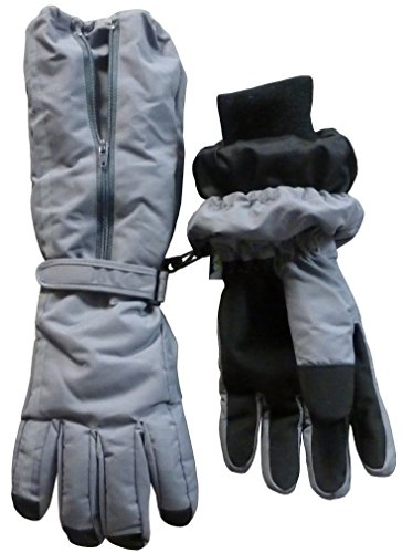 N'ice Caps Boys Reflector Thinsulate and Waterproof Elbow Lenth Glove (10-12yrs, charcoal grey reflector)