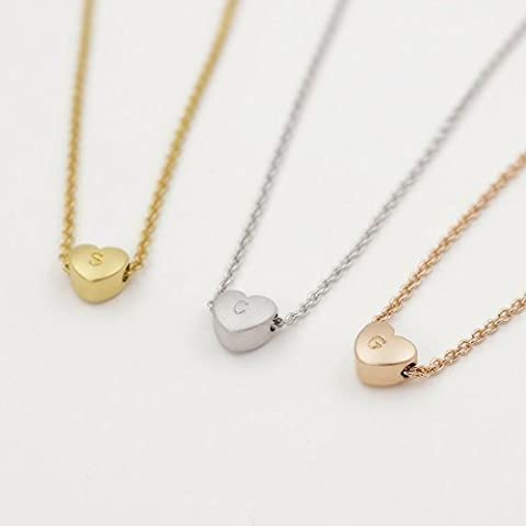 A Super Cute Heart Initial Necklace 16k Gold Plated Hand stamped Personalized Heart pendant bridesmaid Wedding Graduation Birthday Anniversary