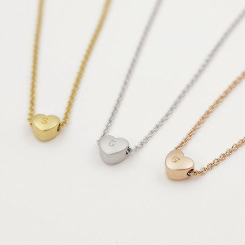 A Super Cute Heart Initial Necklace 16k Gold -plated, silver